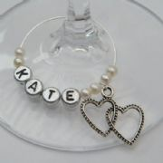 Double Heart Personalised Wine Glass Charm